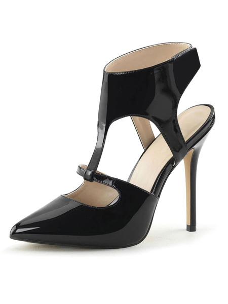 Milanoo High Heel Sexy Sandals Black PU Leather Pointed Toe Sexy Shoes