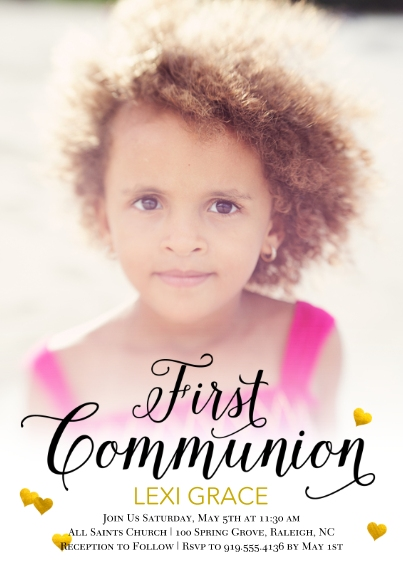 Communion 5x7 Cards, Standard Cardstock 85lb, Card & Stationery -Communion Hearts by Posh Paper