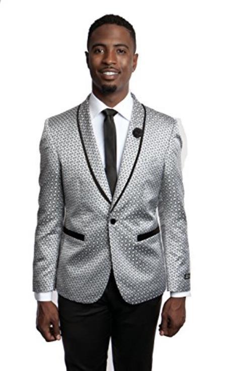 Mens Tazio 1 Button Slim Fit Gray Blazer