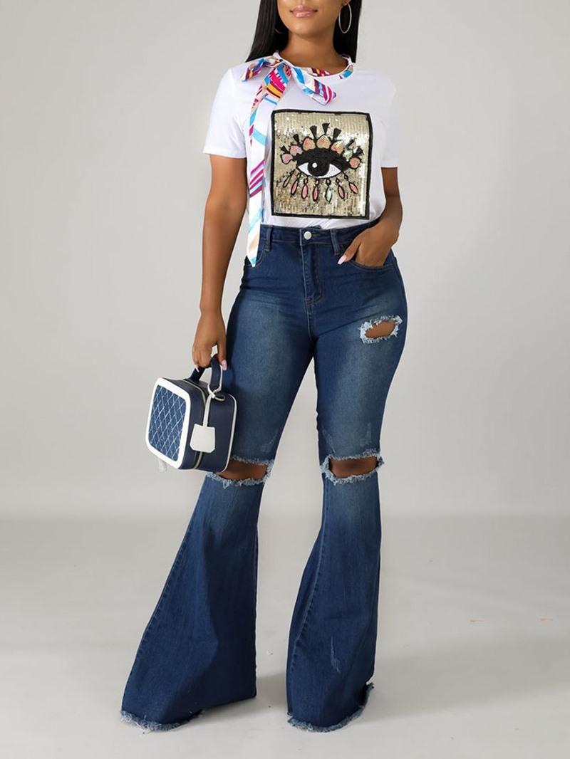 Ericdress Hole Bellbottoms Zipper Slim Jeans