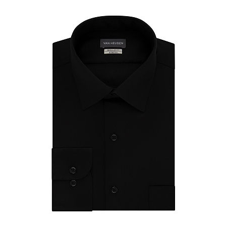 Van Heusen Lux Sateen Stretch Long Sleeve Dress Shirt - big and Tall, 18.5 37-38, Black