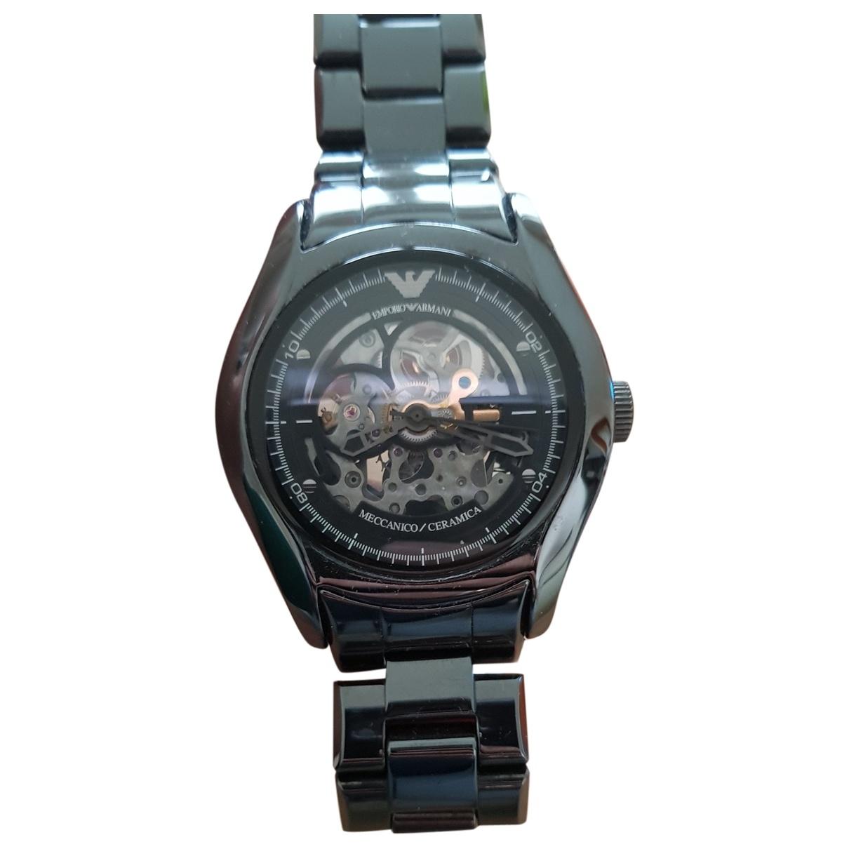 Emporio Armani \N Black Ceramic watch for Men \N