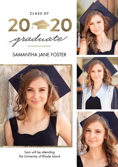 2020 Graduation Announcements Flat Glossy Photo Paper Cards with Envelopes, 5x7, Card & Stationery -Graduation 2020 Gold Cap by Tumbalina