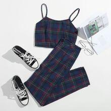 Plaid Crop Cami & Pants