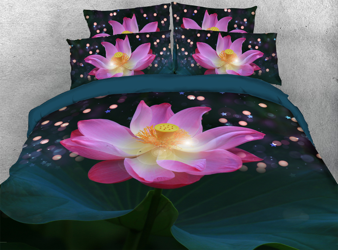 3D Lotus 4-piece No-fading Bedding Sets Durable Floral Zipper Duvet Cover with Non-slip Ties