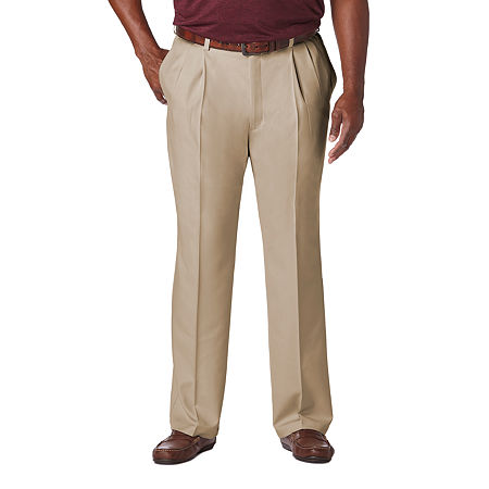 Haggar Cool 18 Pro Pleated Front Pant- Big & Tall, 52 34, Beige