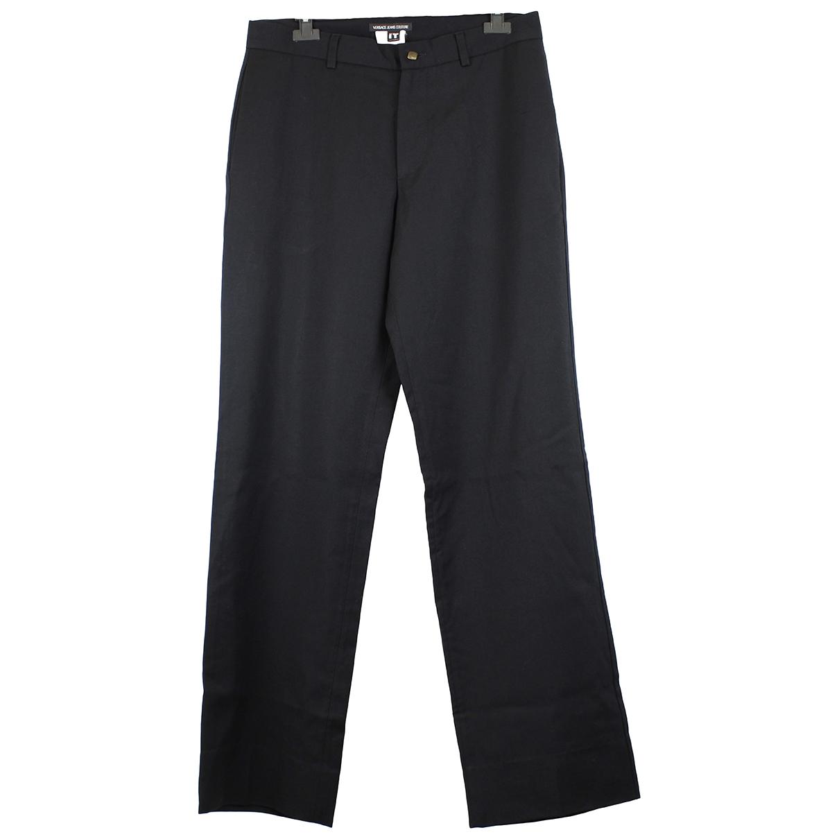 Versace Jeans \N Black Wool Trousers for Women 46 IT