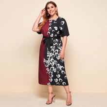 Plus Floral Print Spliced Dress With Belt