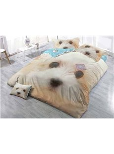 Docile Cute Dog Wear-resistant Breathable High Quality 60s Cotton 4-Piece 3D Bedding Sets