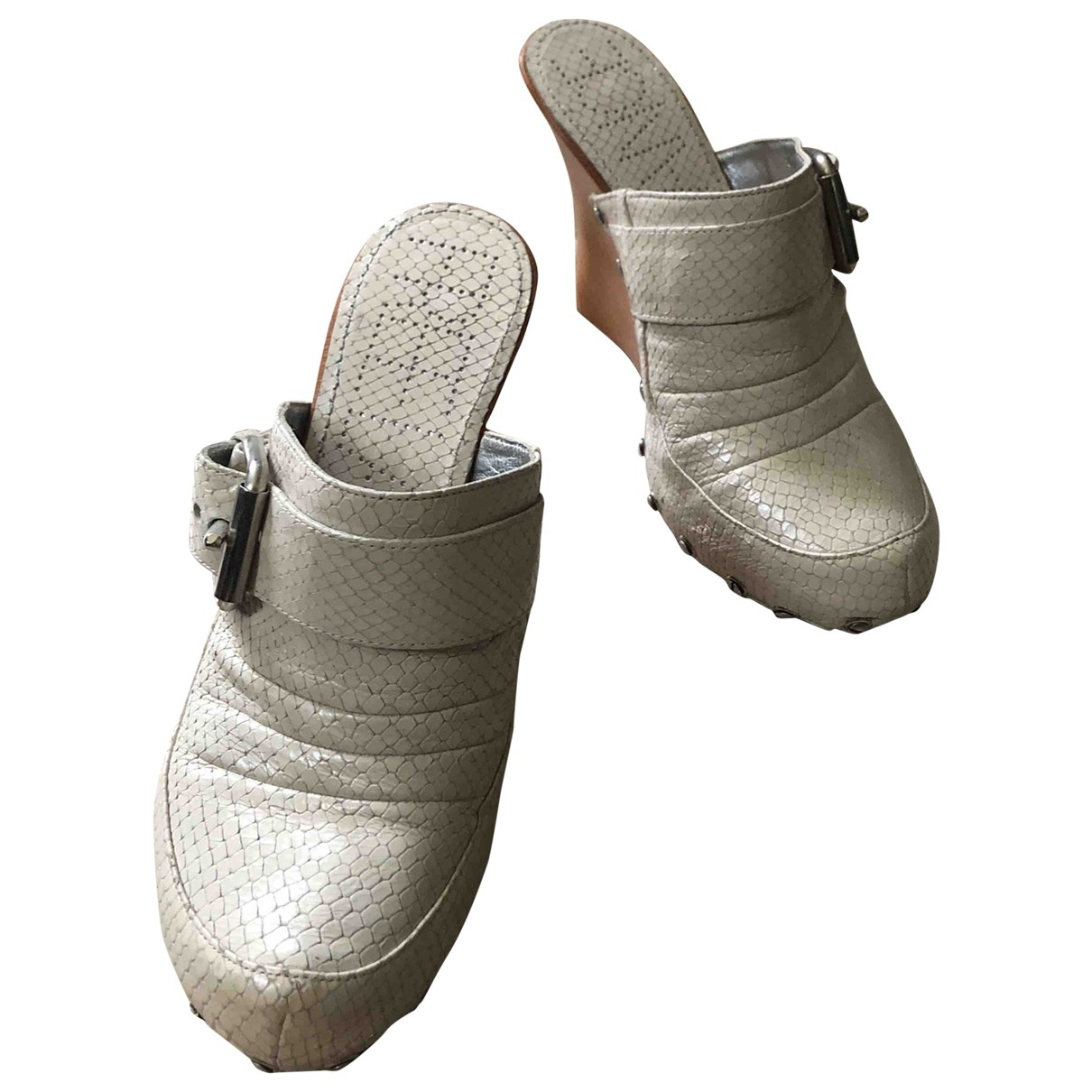 Free Lance \N Beige Leather Mules & Clogs for Women 38 EU