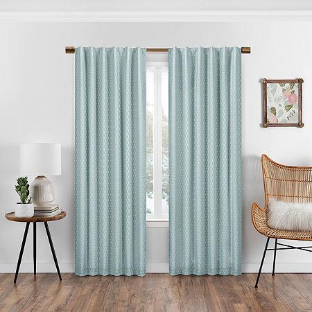 Eclipse Nora Crochet Blackout Back-Tab Single Curtain Panel, One Size , Blue
