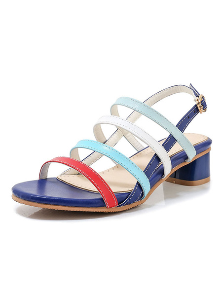 Milanoo Low Heel Sandals Womens Multicolor Open Toe Slingback Block Heel Sandals