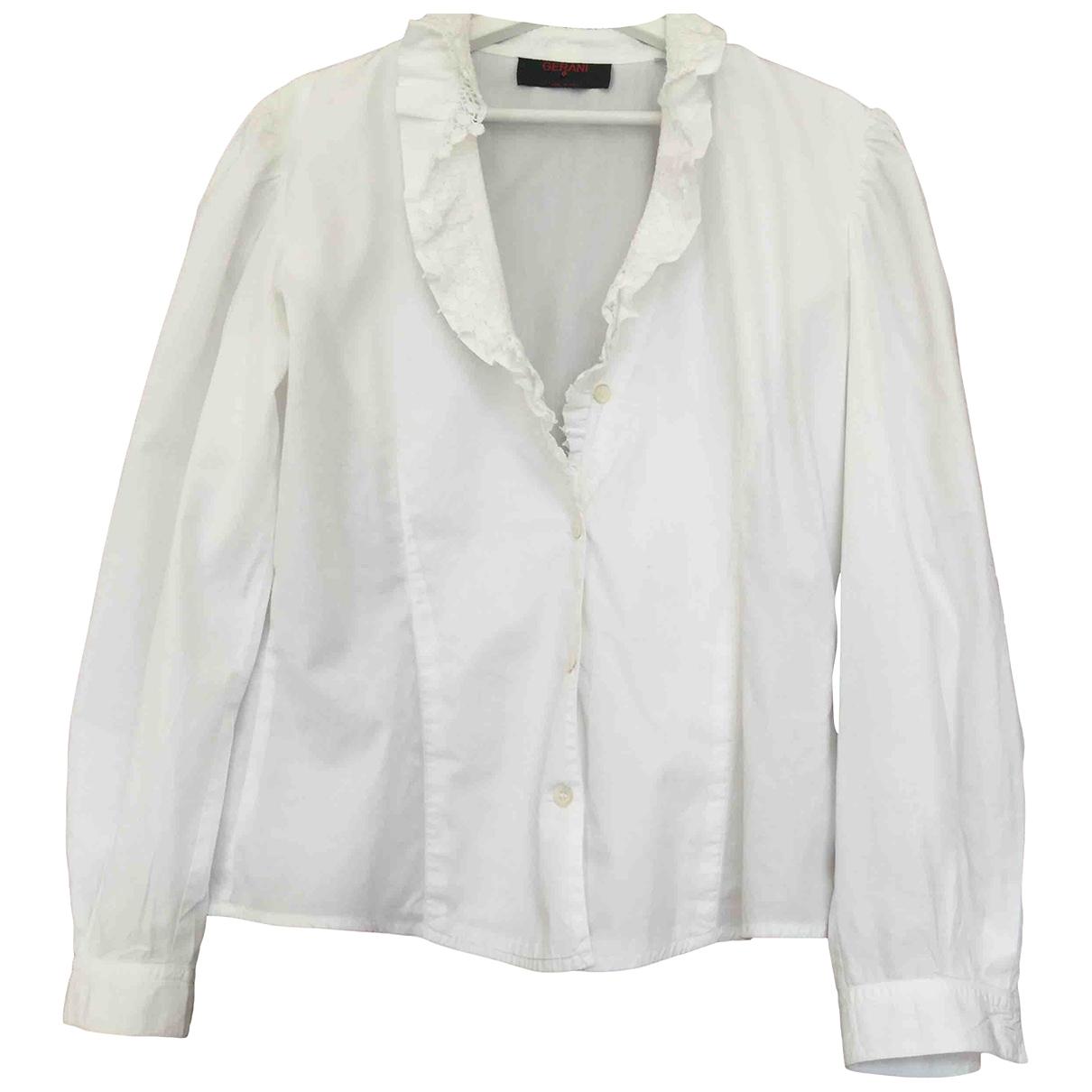 Non Signé / Unsigned Manche ballon White Cotton  top for Women 44 IT