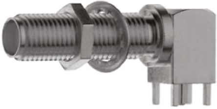 Telegartner Right Angle 50Ω PCB MountBulkhead Fitting Coaxial Connector, jack, Gold, Solder Termination