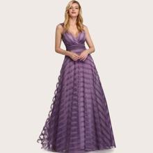 Empire Waist Striped Mesh Overlay Prom Dress