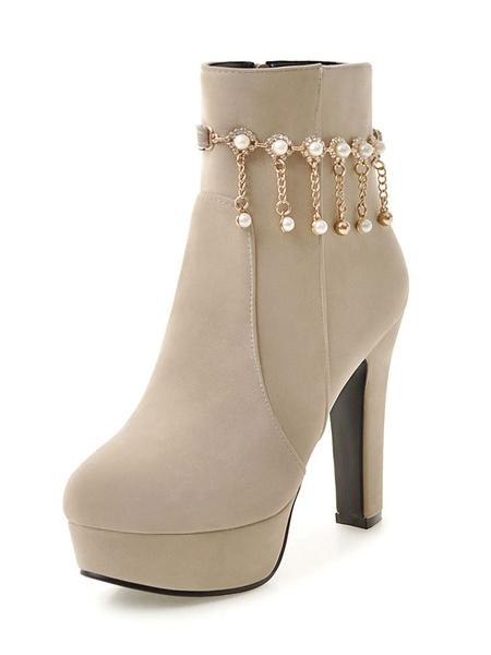 Milanoo High Heel Booties Suede Women's Ecru White Platform Pearls Detail Ankle Boots
