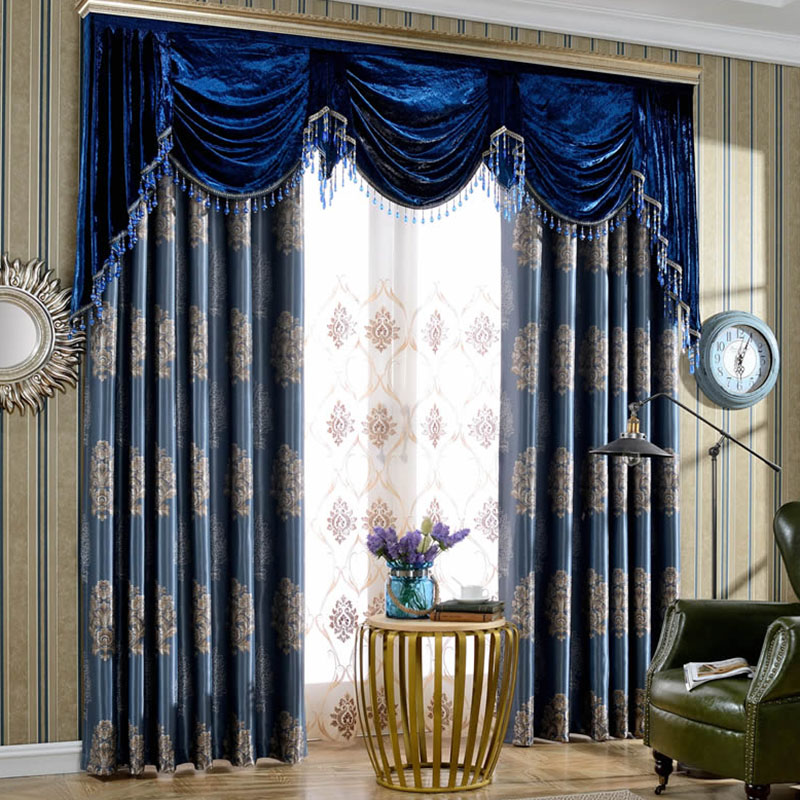 Elegant and Luxury Embroidered Custom Blackout Curtain Panels for Living Room