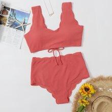 Plus Textured Scalloped Trim Bikini Swimsuit