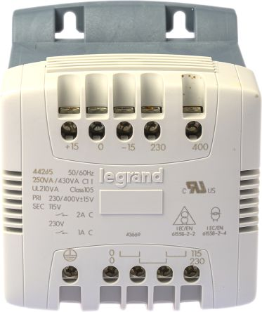 Legrand 250VA DIN Rail Transformer, 215V ac, 230V ac, 245V ac, 385V ac, 400V ac, 415V ac Primary, 115V ac Secondary