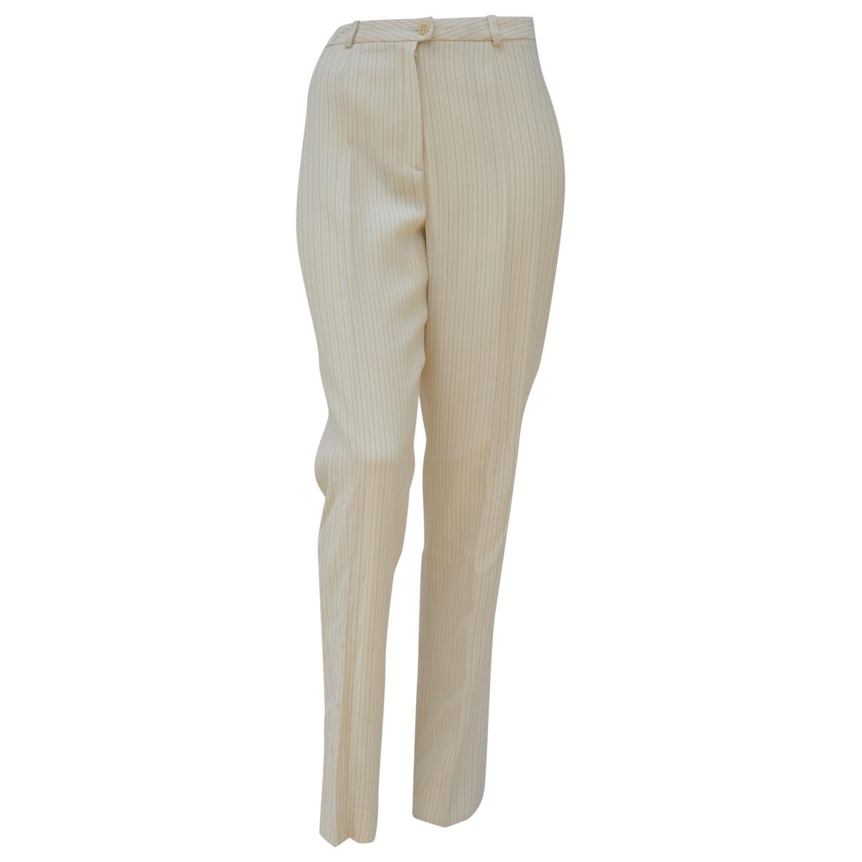 Kenzo \N Ecru Wool Trousers for Women 40 FR