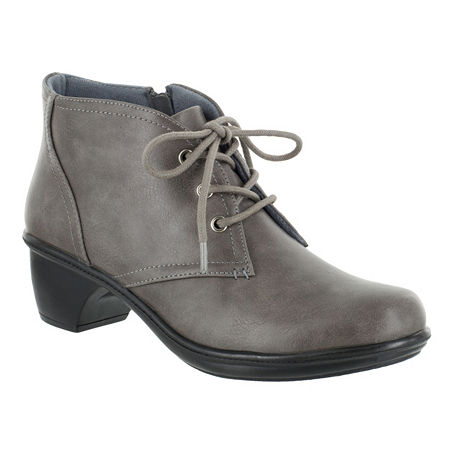 Easy Street Womens Debbie Block Heel Zip Bootie, 6 1/2 Wide, Gray