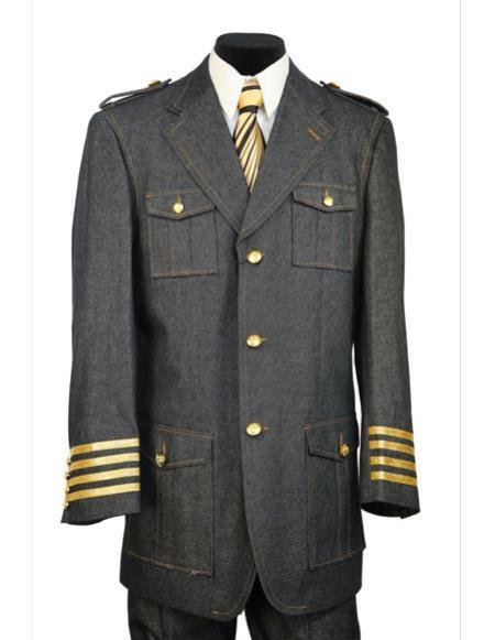 Mens Black military style tri-stripe cuff denim 2pc zoot suit