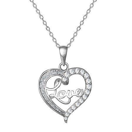 DiamonArt Womens White Cubic Zirconia Sterling Silver Heart Pendant Necklace, One Size , No Color Family
