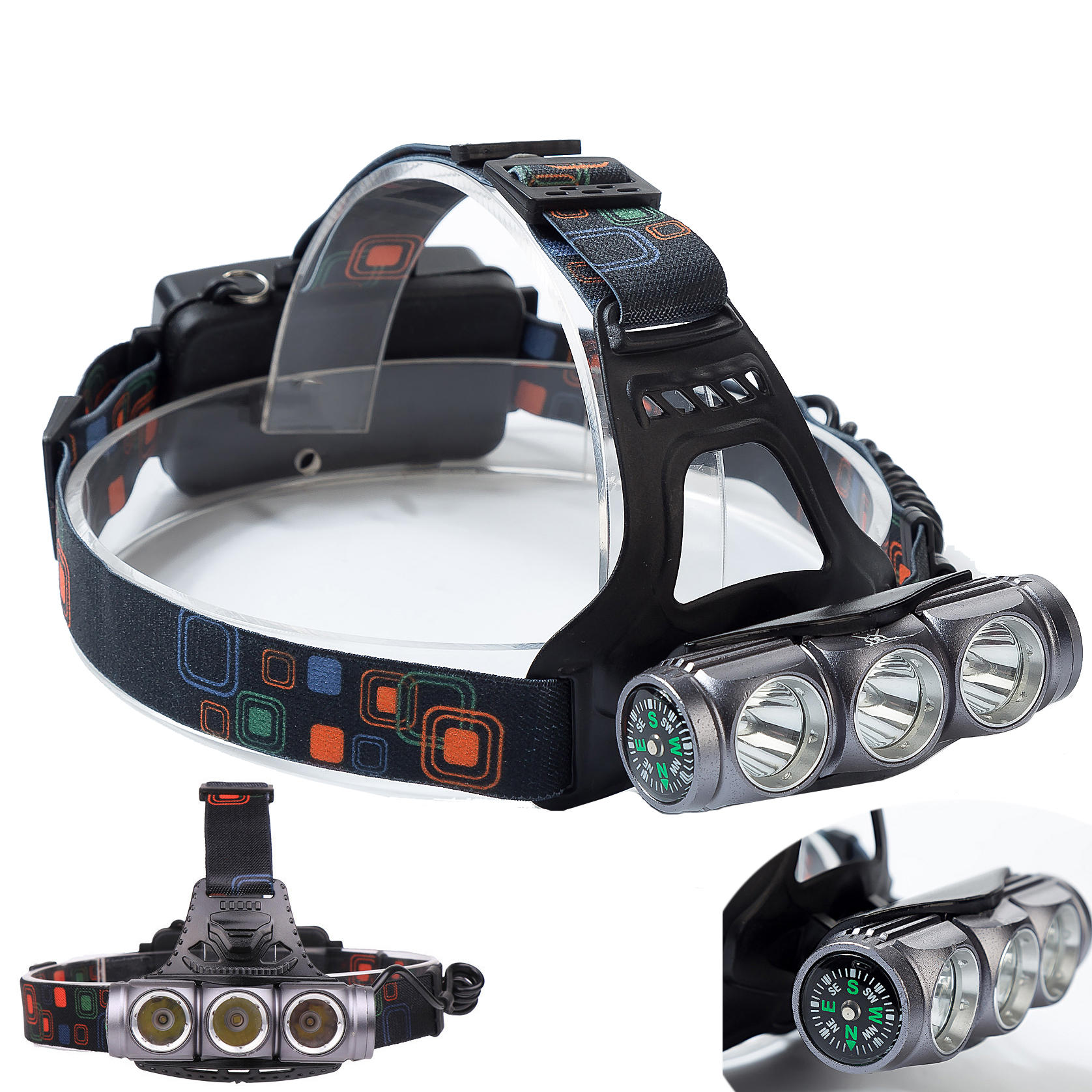 XANES® 1800LM T6+2 x XPE LED Compass HeadLamp 18650 Battery 4 Modes DC Direct Charge Waterproof For Outdoor Camping Hiki
