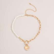 Heart Charm Faux Pearl Beaded Necklace