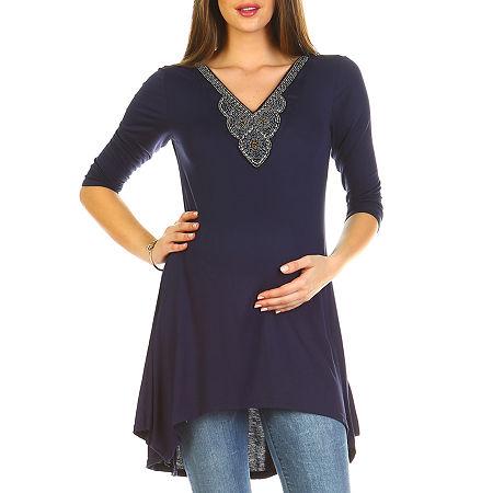 White Mark 'Calla' Embellished Tunic- Maternity, Medium , Blue