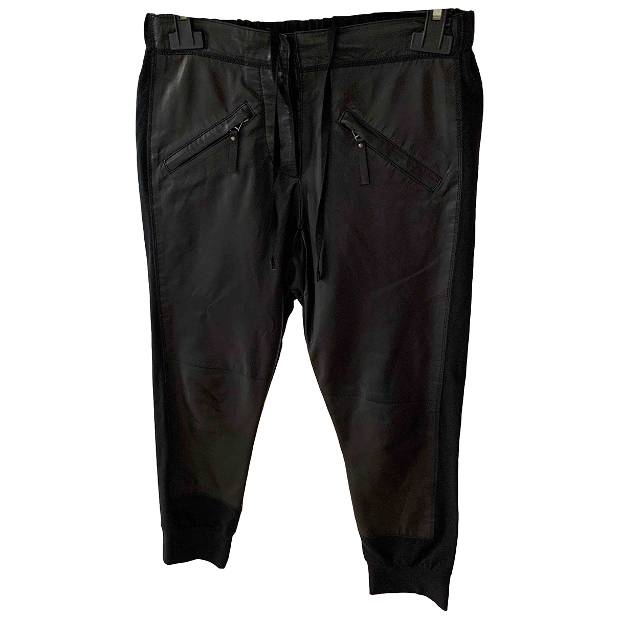 Pinko \N Black Leather Trousers for Women 34 FR