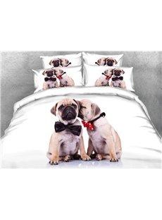 Vivilinen Couple Shar Pei with Tie Printed 4-Piece 3D White Bedding Sets/Duvet Covers