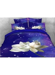 Vivilinen 3D White Lotus and Bubbles Printed 4-Piece Purple Bedding Sets/Duvet Covers