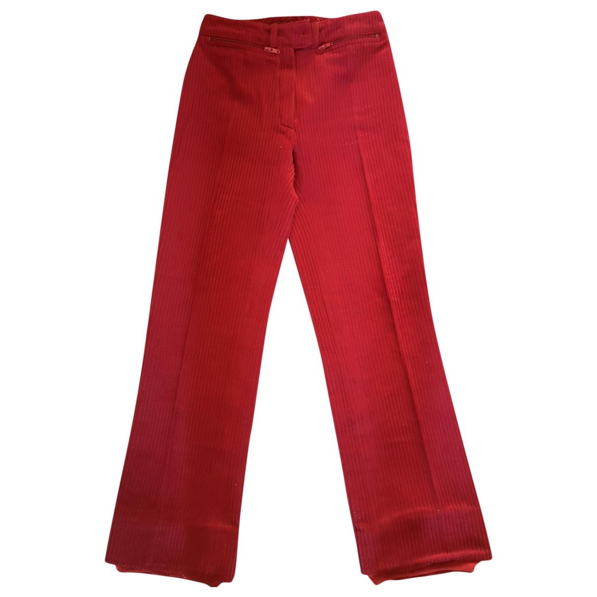 Non Signé / Unsigned \N Red Velvet Trousers for Women 36 FR
