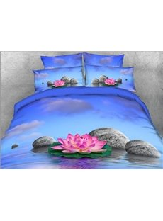 Vivilinen 3D Pink Lotus Printed 4-Piece Floral Bedding Sets/Duvet Covers