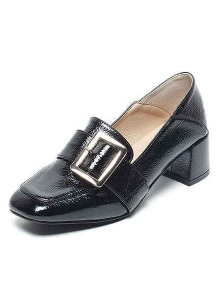 Milanoo Block Heel Loafers Black PU Leather Square Toe Buckle Slip On Shoes
