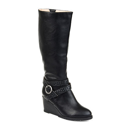 Journee Collection Womens Garin Wide Calf Dress Zip Boots Wedge Heel, 11 Medium, Black