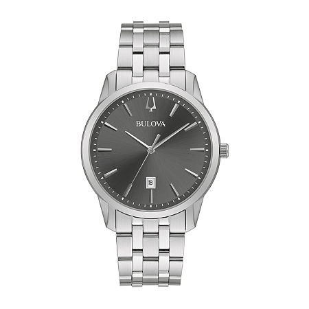 Bulova Classic Mens Silver Tone Stainless Steel Bracelet Watch-96b341, One Size , No Color Family