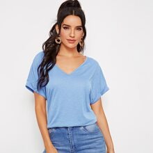 Rolled Cuff Batwing Sleeve Solid Top