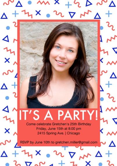 Birthday Party Invites 5x7 Cards, Premium Cardstock 120lb with Elegant Corners, Card & Stationery -Memphis Pattern Invite