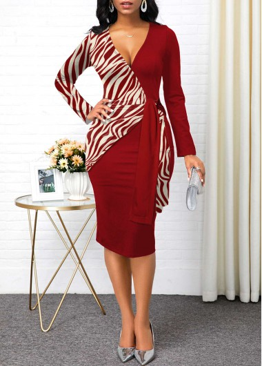 Women'S Red Plunging Neck Zebra Print Long Sleeve Sheath Cocktail Party Dress Belted Midi Elegant Dress By Rosewe - L