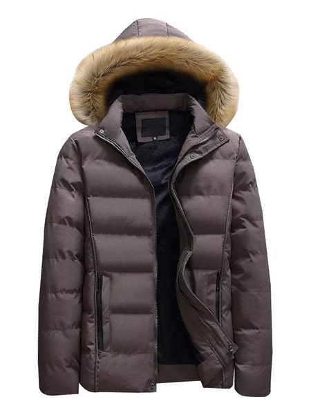 Milanoo Men Black Parka Furry Hood Padded Coat Cotton Fill Casual Winter Overcoat