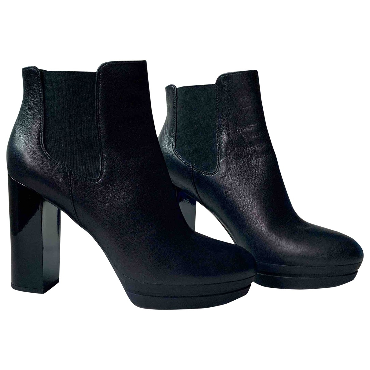 Hogan \N Black Leather Ankle boots for Women 41 EU