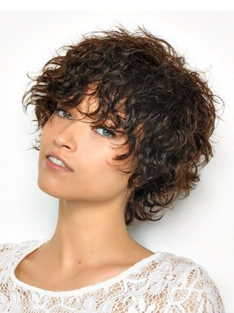 Ericdress Women's Layered Curly Hairstyles Synthetic Hair Capless Wigs With Bangs 10Inch