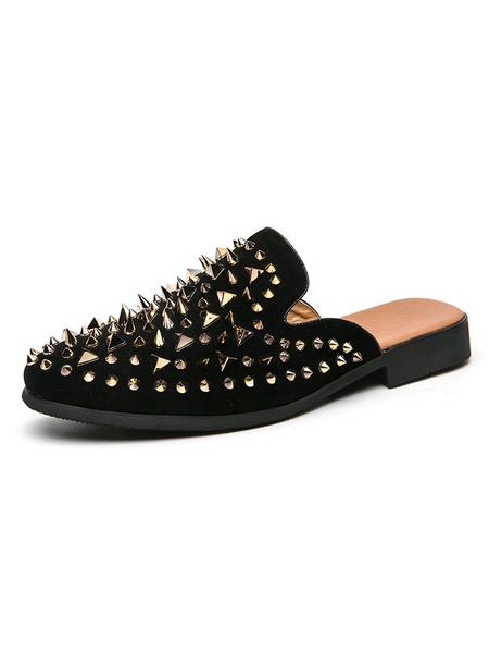 Milanoo Mens Sandals Slip-On StuddedRivets PU Leather Rubber Sole Men\'s Spike Mules