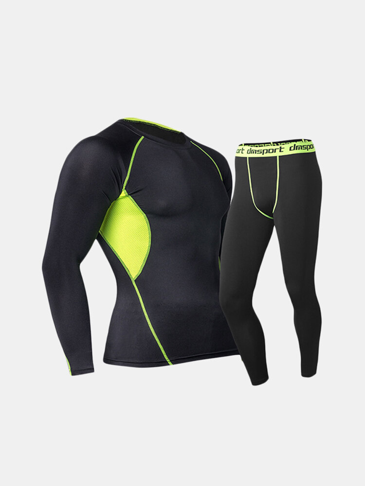Training Bodybuilding Suit Tops Quick-drying Elastic Tight Long Sleeve T-shirt for Men