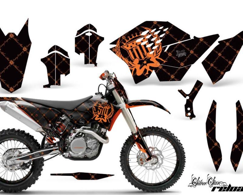 AMR Racing Graphics MX-NP-KTM-C5-07-11-SSR O K Kit Decal Wrap + # Plates For KTM SX/XCR-W/EXC/XC/XC-W/XCF-W 2007-2011áRELOADED ORANGE BLACK