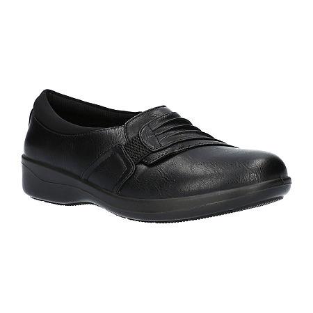Easy Street Womens Folk Slip-On Shoe, 9 1/2 Medium, Black