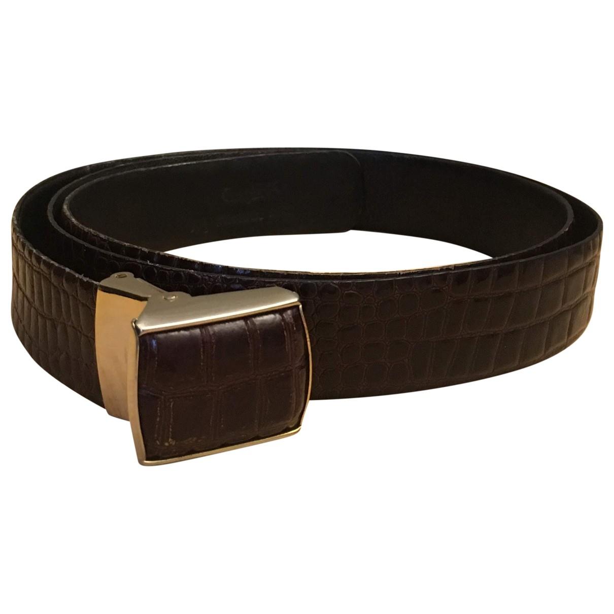 Non Signé / Unsigned \N Brown Crocodile belt for Men 100 cm