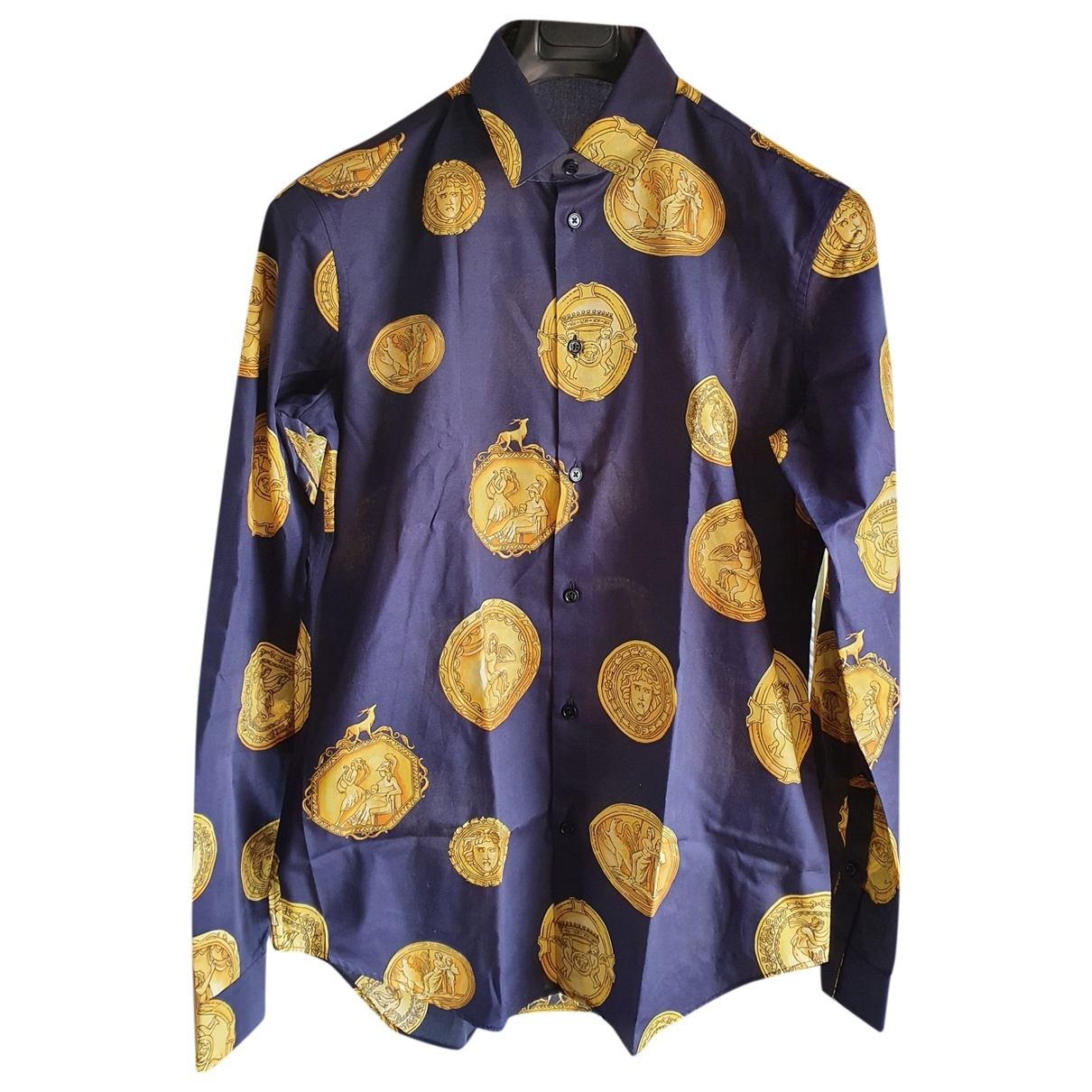 Versace \N Blue Cotton Shirts for Men 39 EU (tour de cou / collar)
